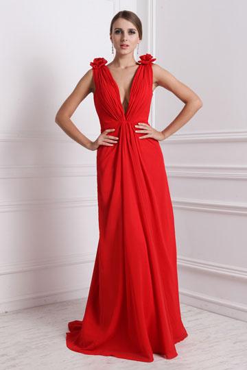 robe de soirée rouge longue col en V orné de fleurs pour mariage