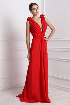 Rouge robe sexy longue encolure en V plongeant ornée de fleur