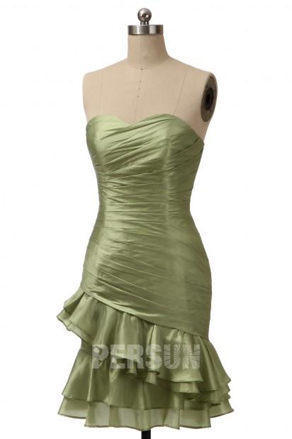 Robe de cocktail verte en taffetas jupe biais