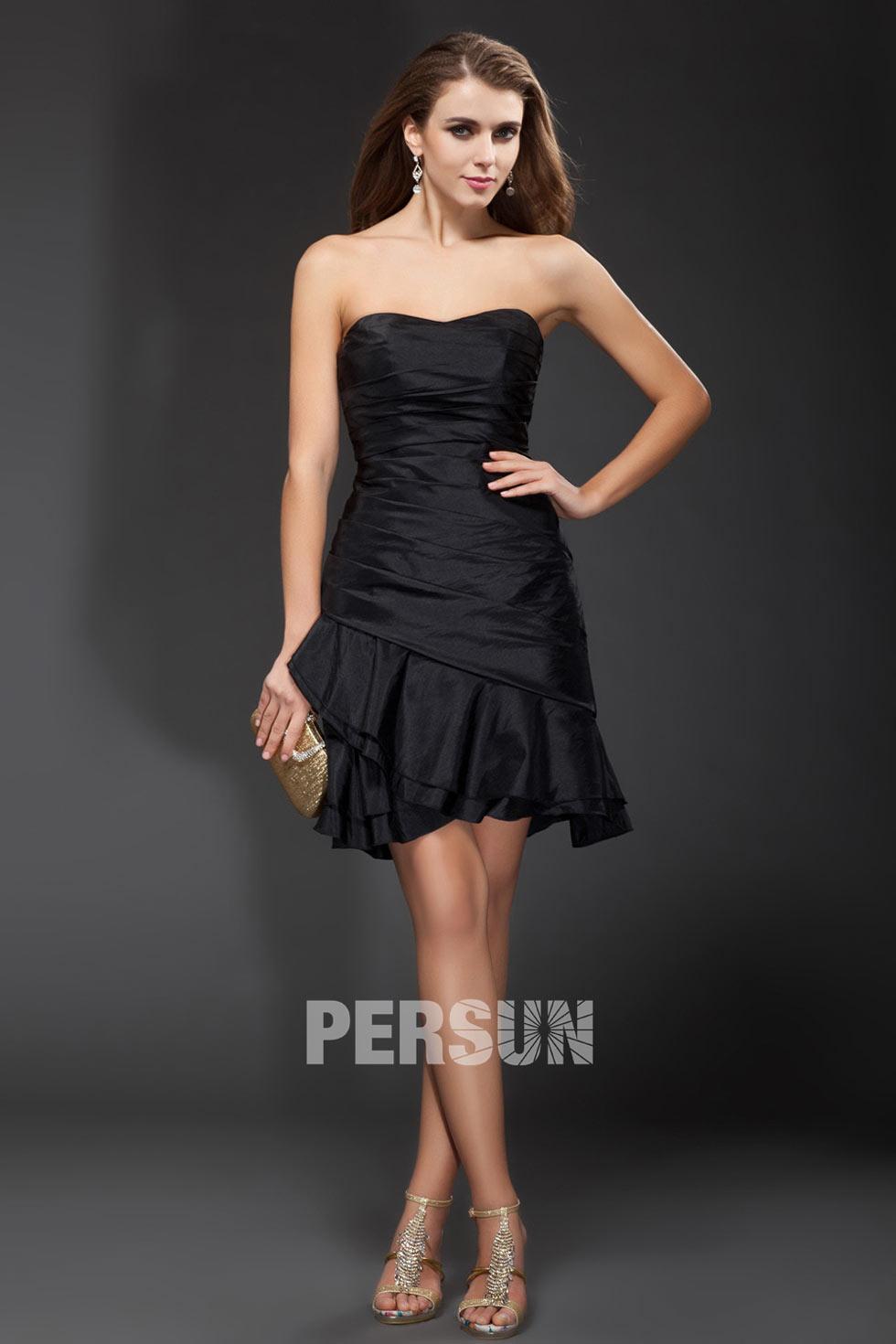robe de soirée noire courte moulante drapée en taffetas