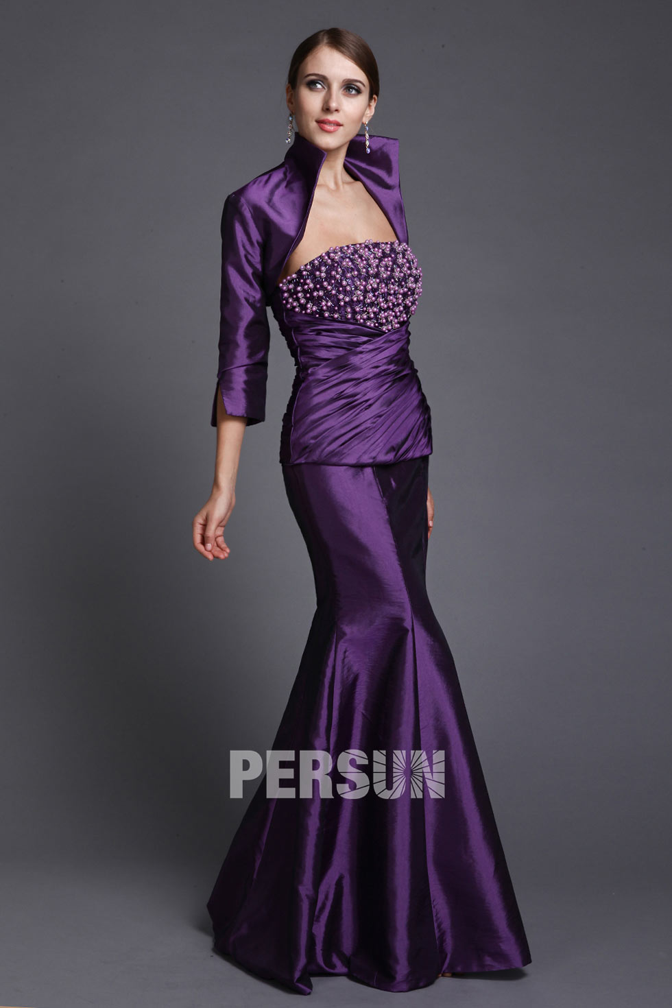 Robe violette bustier longue soirée sirène en taffetas