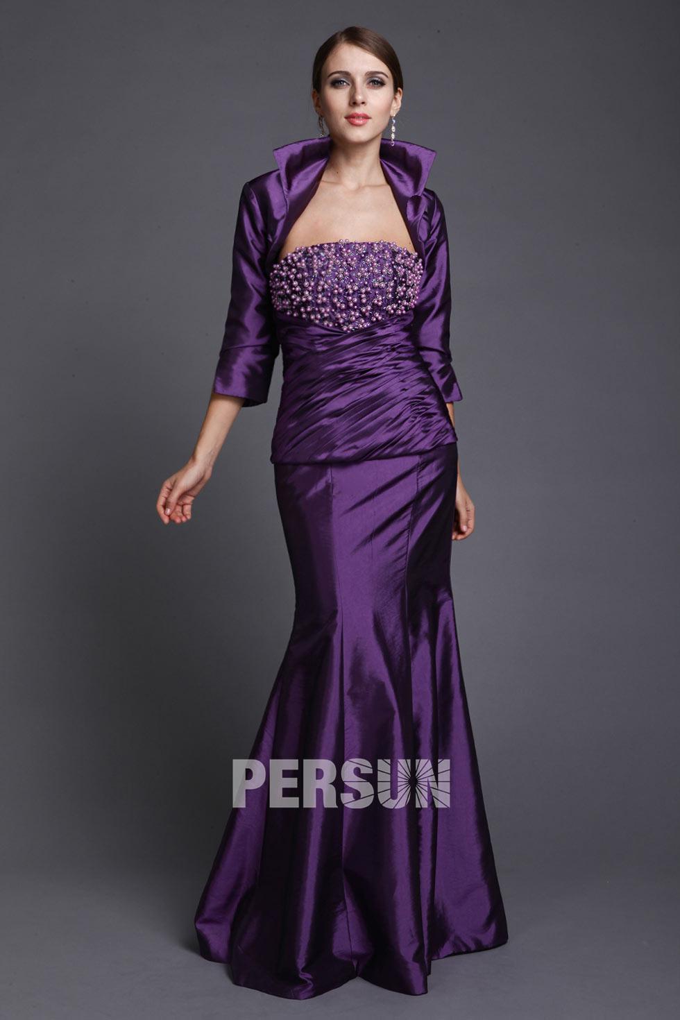 robe violette pour mère du marié en taffetas