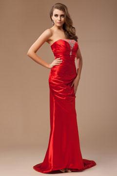Robe soirée bustier rouge plissée avec traîne chapel