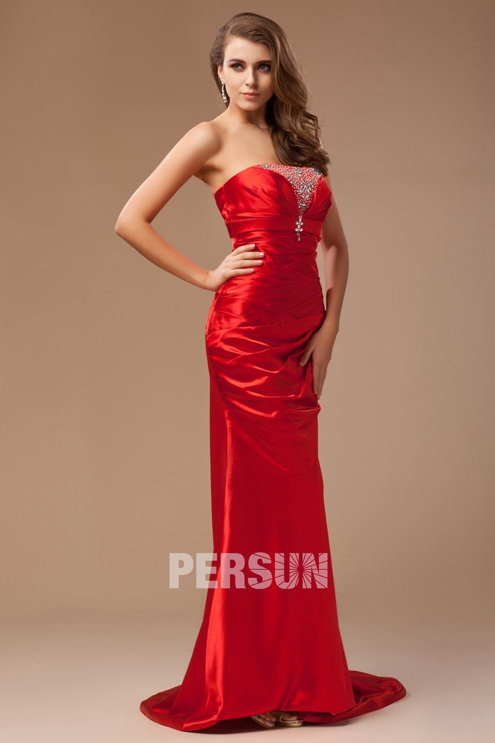 robe rouge de soirée en sirène