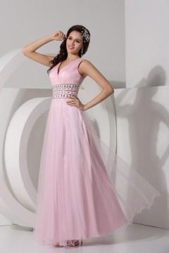 Robe longue rose soirée décolleté en V Empire ornée de strass