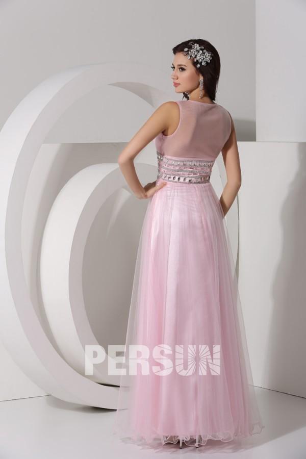 Sexy robe longue rose empire col en V dos transparent