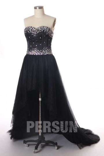Robe de bal noire courte devant longue derrière avec corset cœur
