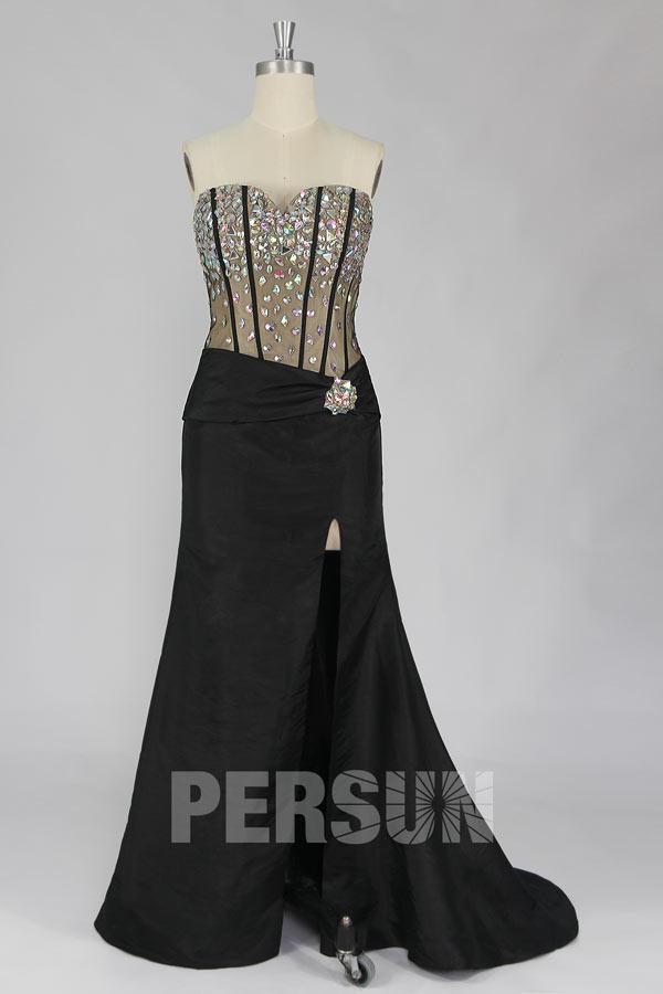 robe de soirée longue noire fendue sexy haut embelli de strass brillants