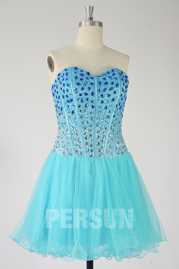 Robe de bal courte en tulle turquoise corsage scintillant