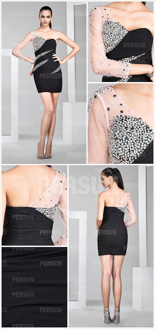 chic robe de soirée asymétrique avec une manche longue transparente orné de bijoux