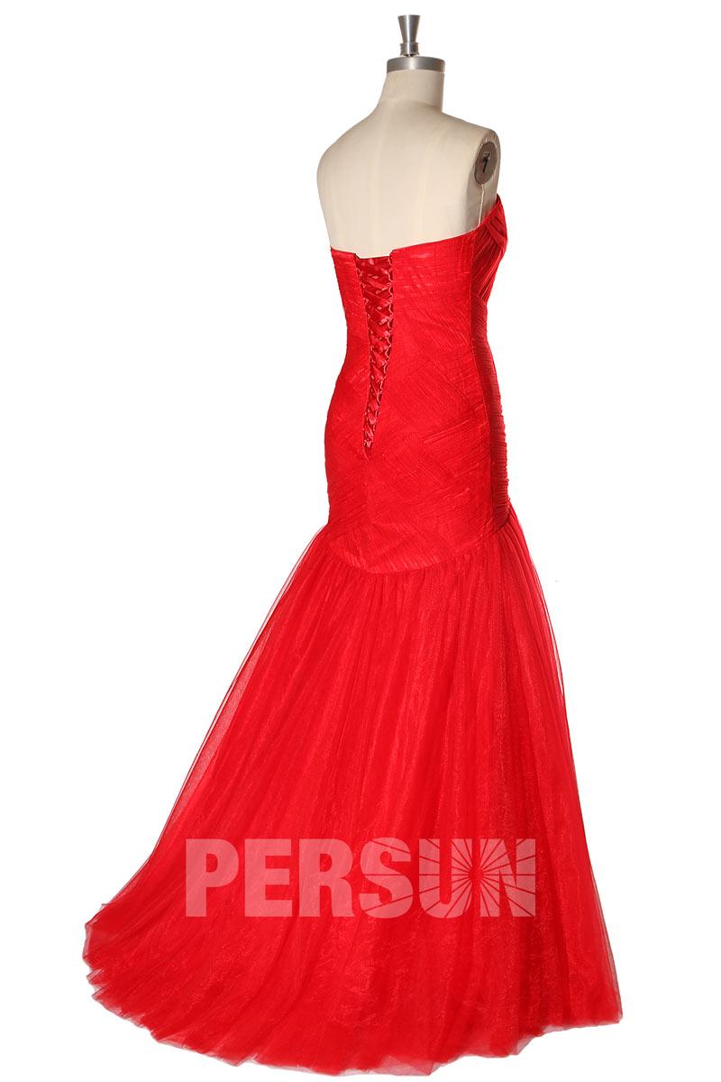 Robe cérémonie sirène rouge en tulle pour mariage