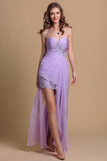aaa96399f3c Robe de bal bustier en Tencel lilas courte devant longue derrière ornée de  dentelle   applique