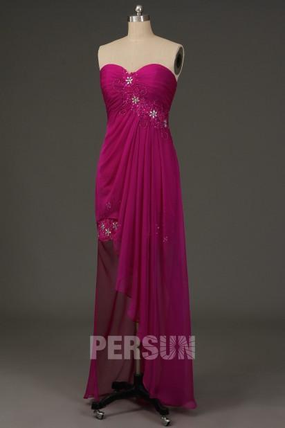 Robe de soirée tencel fuchsia bustier coeur