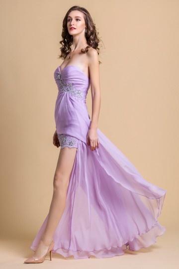 Robe de soirée lilas courte devant longue derrière