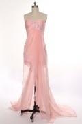 Robe de bal bustier rose poudré en Tencel courte devant longue derrière ornée de dentelle & applique