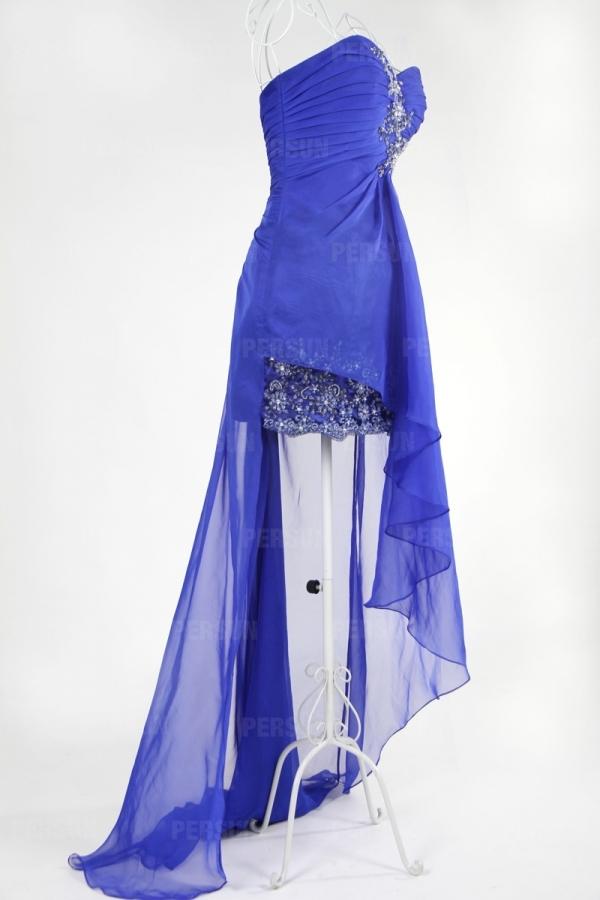 Robe bustier plissée stras courte devant longue derrière