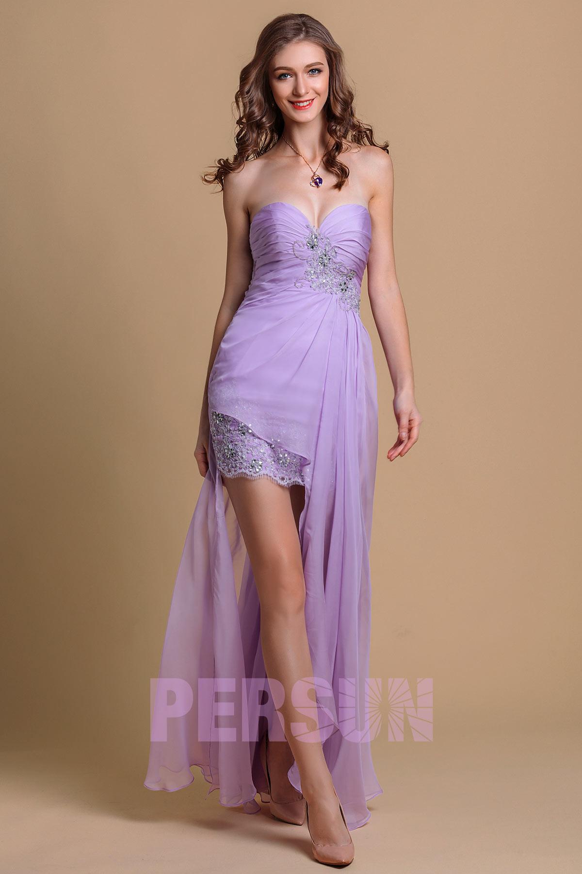 664873893b5 Robe de bal bustier en Tencel lilas courte devant longue derrière ornée de  dentelle   applique