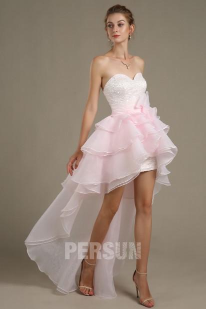 Robe de bal organza rose pâle style bascule à bustier & jupe scintillant