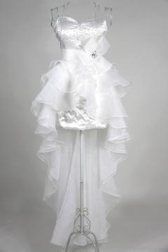 Robe de bal style bascule organza blanche à bustier scintillant avec nœud papillon