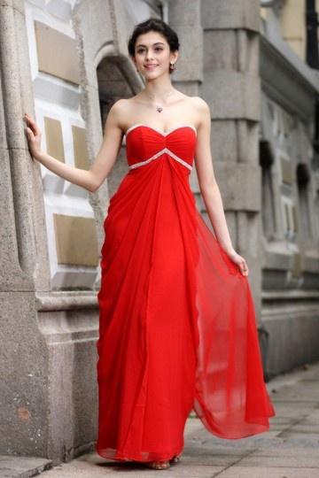 Robe mousseline longue bustier cœur empire rouge