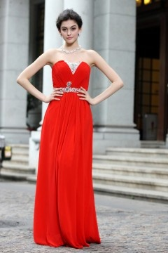 Robe rouge longue bustier cœur simple en mousseline