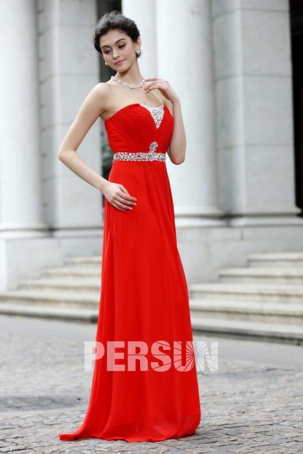 Robe rouge bustier plissé & orné de sequin