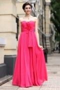 A line Empire Sweetheart Strapless Hand make Flower Ruching Belt Chiffon Long School Formal Dress