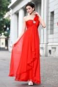 Robe rouge de bal à seule épaule en mousseline polyester Empire