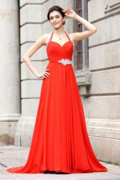 Robe de cérémonie rouge longue plissée à col américain