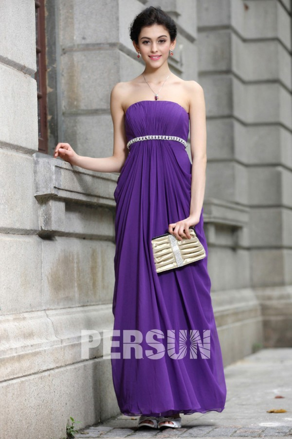 Robe simple violette bustier plissée longue Empire