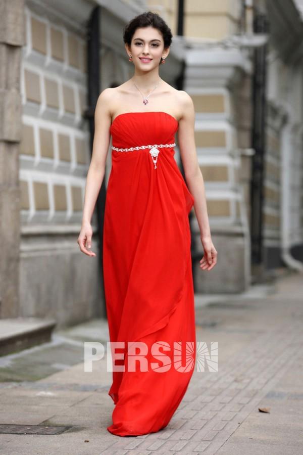 Robe rouge de soirée longue Empire bustier en mousseline polyester