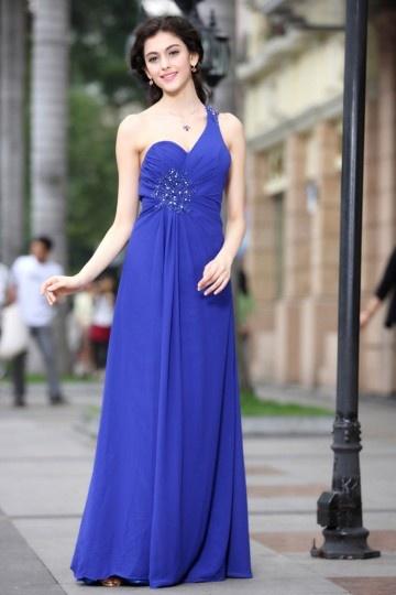 Robe longue bleu asymétrique Empire ornée de bijoux