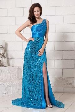 Robe bleu pailletée col asymétrique à fente latérale