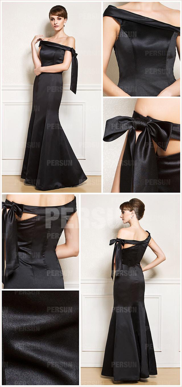 Robe longue noire en satin dénudée chic sirène