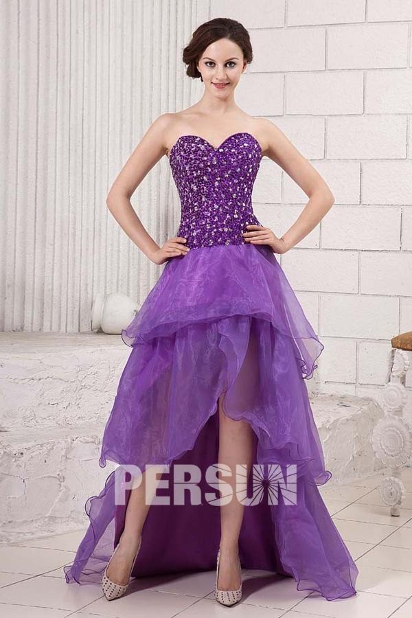 Robe bustier courte devant longue derrière violette en organza