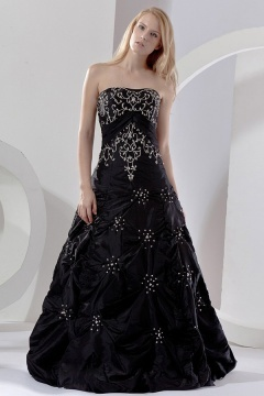 Robe de bal noire bustier brodée de fleurs en taffetas