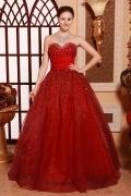 Robe de bal empire ornée de perles et strass rouge foncé