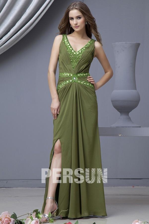 robe longue de soirée vert kaki ornée de strass col v jupe fendue