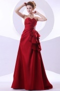 Robe de soirée longue à bijoux en satin rouge foncé