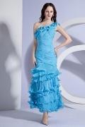Robe de soirée bleue sirène à volants en mousseline