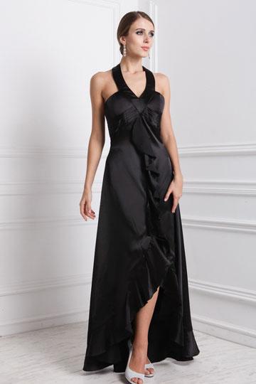 Robe longue de cocktail noire col V à volants