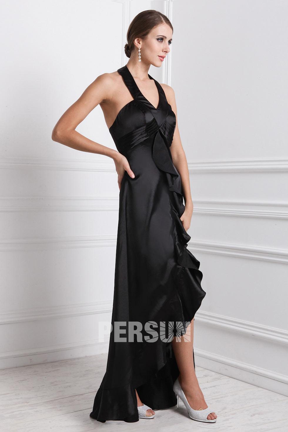 robe de soirée noire col halter à volant