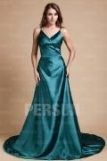 Simple Silk Like Satin V neck Empire A line Formal Dress