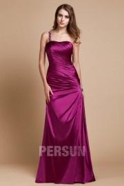 Robe rose de soirée ligne-A ruchés à bijoux
