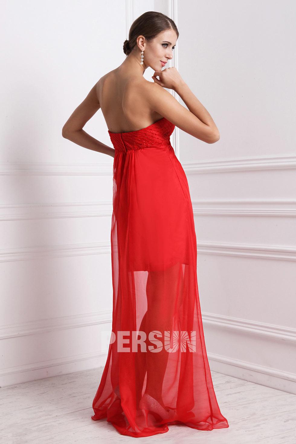 Robe bustier rouge élégante longue sol