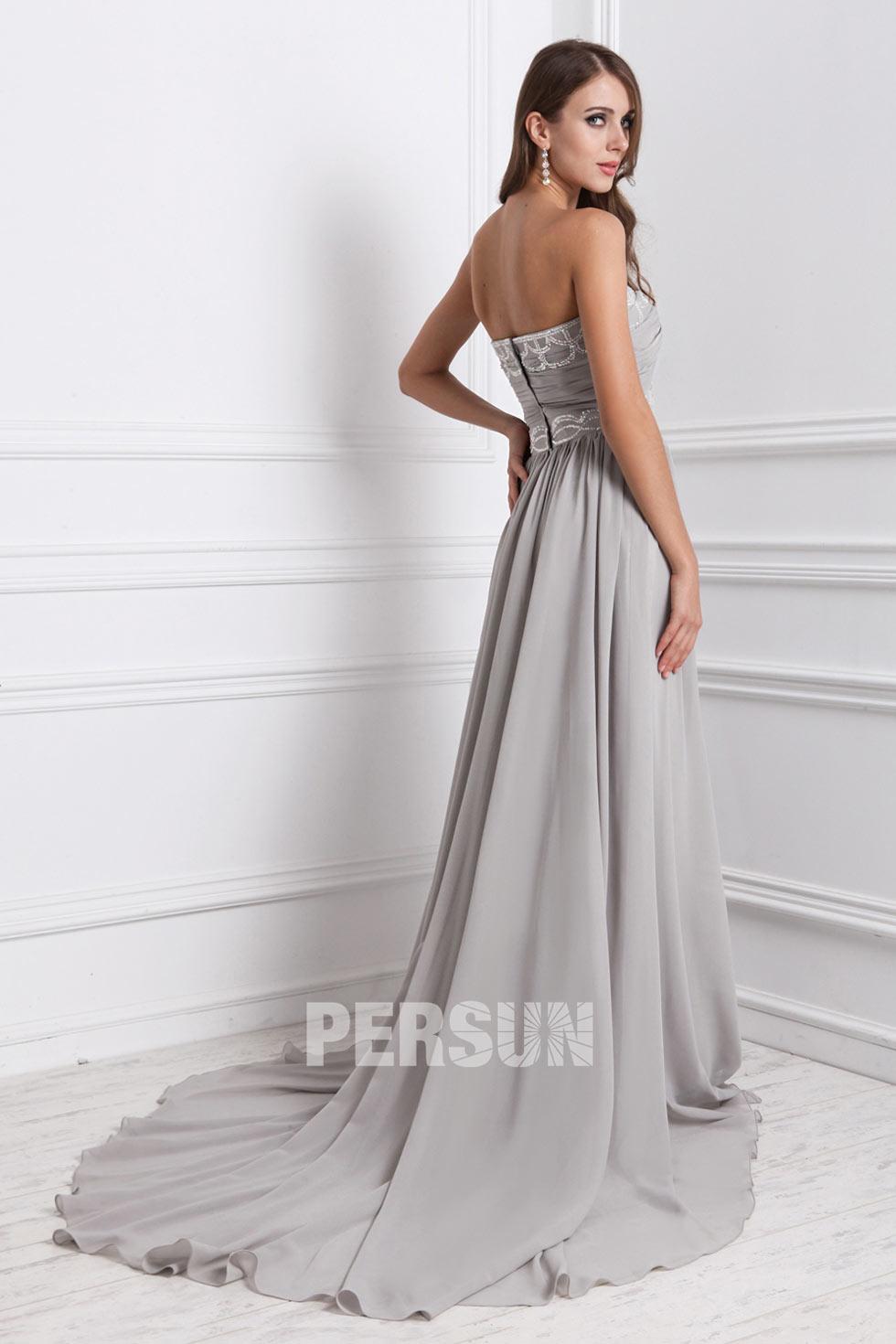 magnifique robe grise à bustier coeur