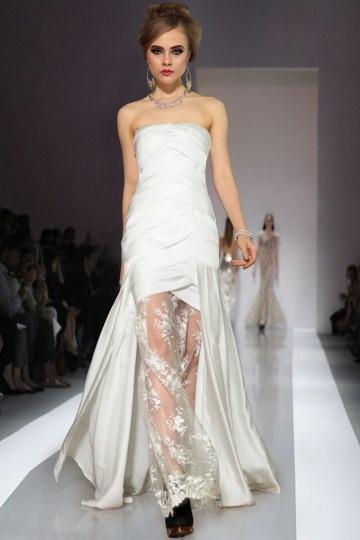Elégante Robe de bal sirène dentelle ruchée en satin soyeux blanche