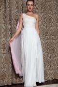 Robe de soirée seule épaule ornée de bijoux mousseline blanche
