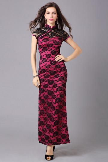 Robe rose de soirée fourreau style chinois dentelle