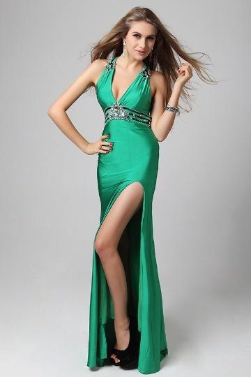 Robe de bal longue col en V profond bijoux satin soyeux verte